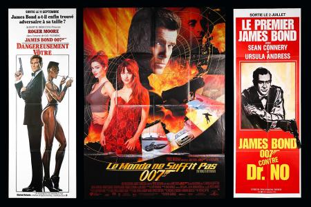 JAMES BOND: DR NO / VIEW TO A KILL / THE WORLD IS NOT ENOUGH (1985-1999) - Three French Door Panel / Grand Posters