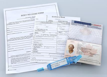 LOST (2004 - 2010) - Jeremy Bentham's (Terry O'Quinn) Canadian Passport, Certificate Of Death, Body Release Form and ID Bracelet